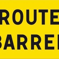 panneau route barrée